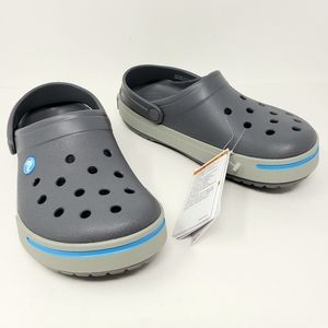 Crocs Crocband Clogs Gray with Blue Band Comfort
